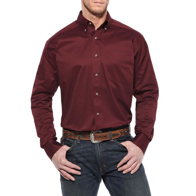 ARIAT MEN'S BURGUNDY SOLID TWILL CLASSIC FIT LS SHIRT - El Toro Boots