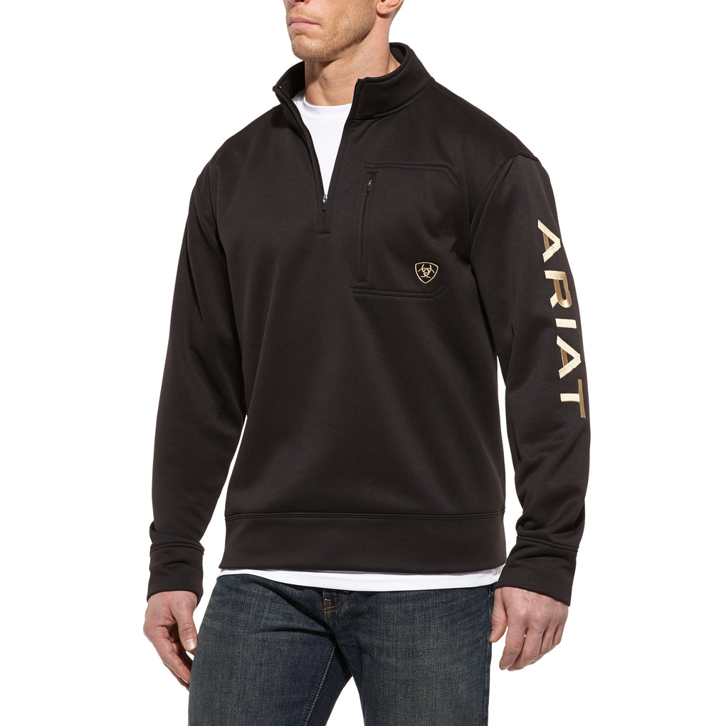 ARIAT TEK FLEECE LOGO 1/4 ZIP - BLACK - El Toro Boots