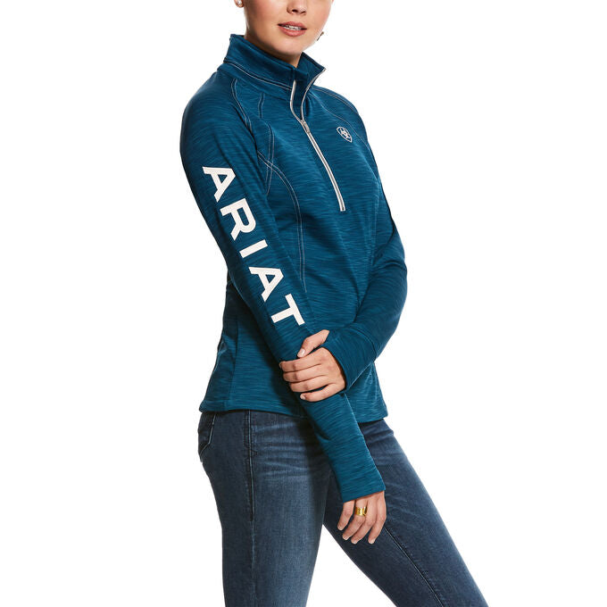ARIAT WOMEN'S TEK TEAM 1/2 ZIP SWEATSHIRT - DREAM TEAL HEATHER - El Toro Boots
