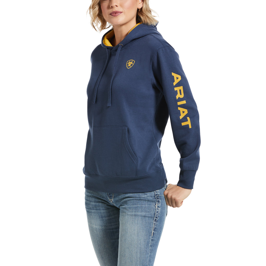 ARIAT WOMEN'S REAL LOGO HOODIE - MARINE BLUE