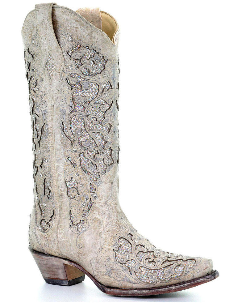 WOMEN'S CORRAL WHITE GLITTER INLAY AND CRYSTALS SNIP-TOE BOOTS - El Toro Boots