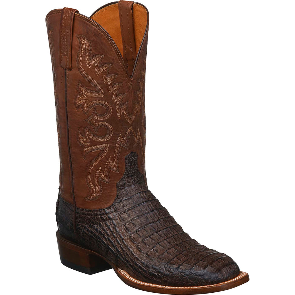 MEN'S LUCCHESE FISHER - BARREL BROWN HORNBACK BOOTS - El Toro Boots