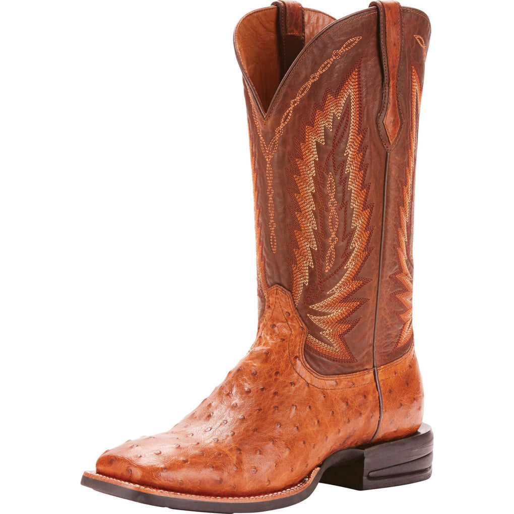 MEN'S RELENTLESS by Ariat PLATINUM TAN FQ OSTRICH BOOTS - El Toro Boots