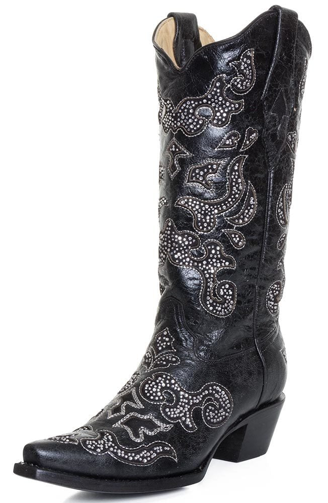 WOMEN'S CORRAL BLACK INLAY AND CRYSTALS SNIP-TOE BOOTS - El Toro Boots