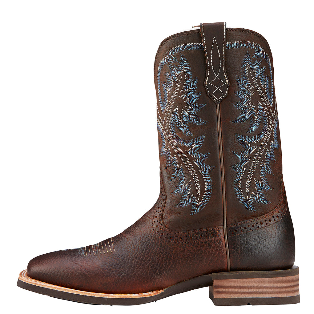 MEN'S ARIAT QUICKDRAW BROWN OILED ROWDY WESTERN BOOTS - El Toro Boots