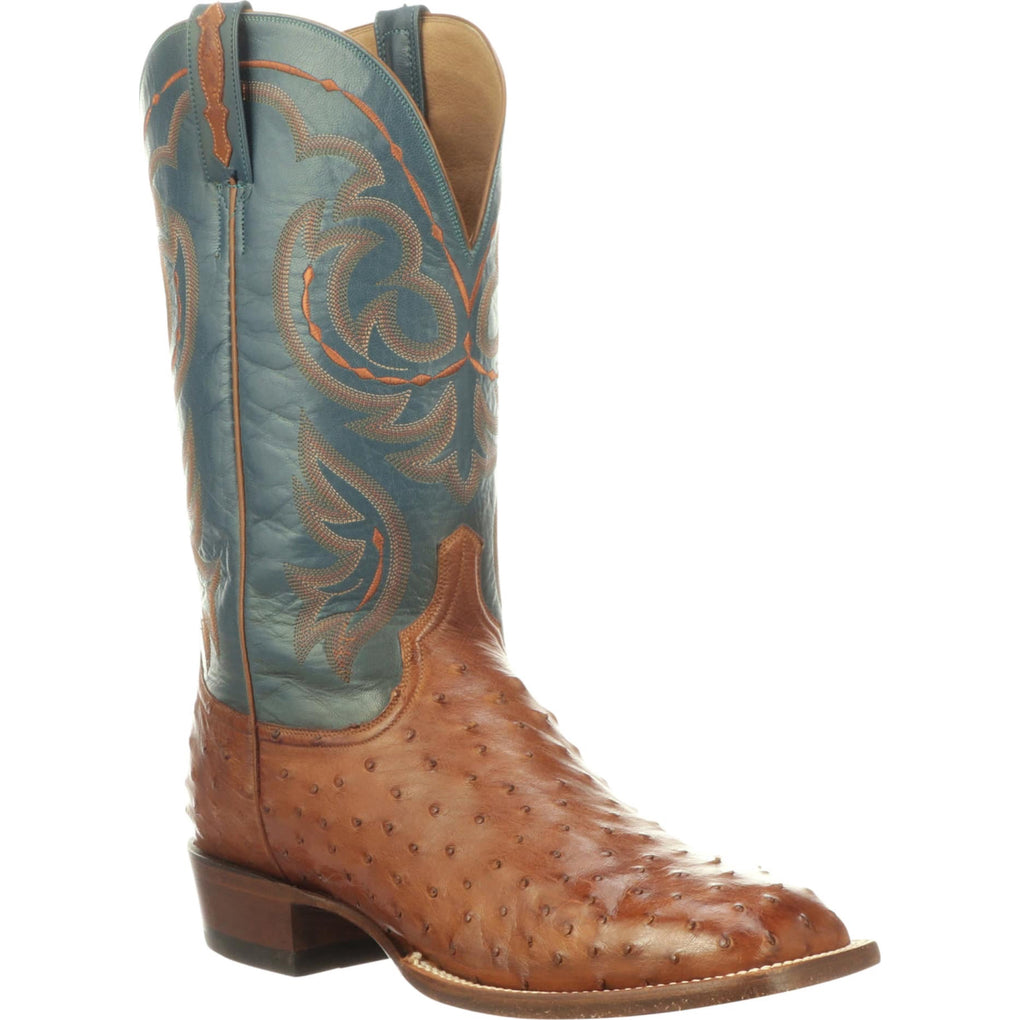 MEN'S LUCCHESE HARRIS - ANTIQUE BRANDY FULL QUILL OSTRICH