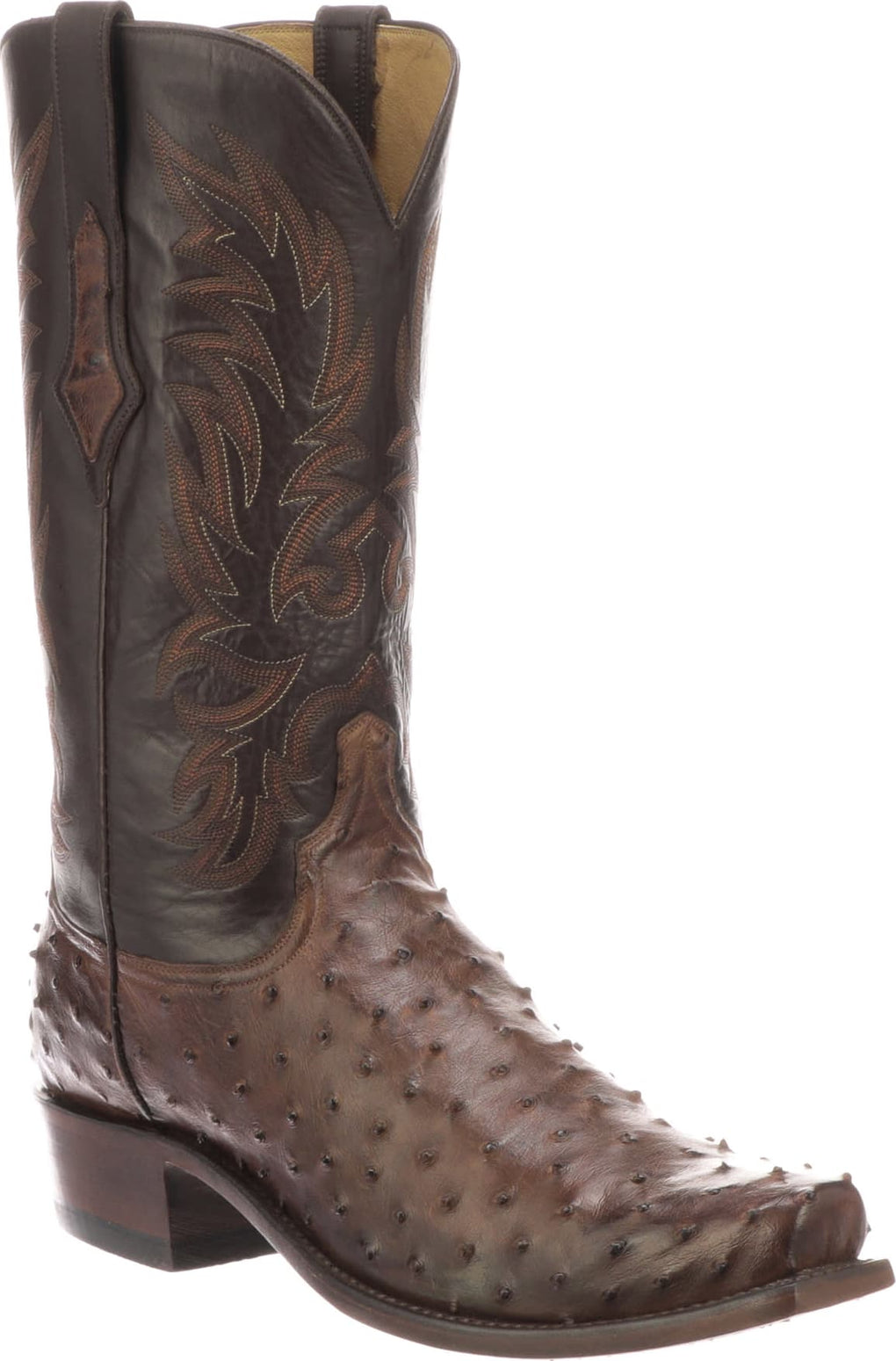 MEN'S LUCCHESE ELGIN - ANTIQUE CHOCOLATE FULL QUILL OSTRICH BOOTS - El Toro Boots
