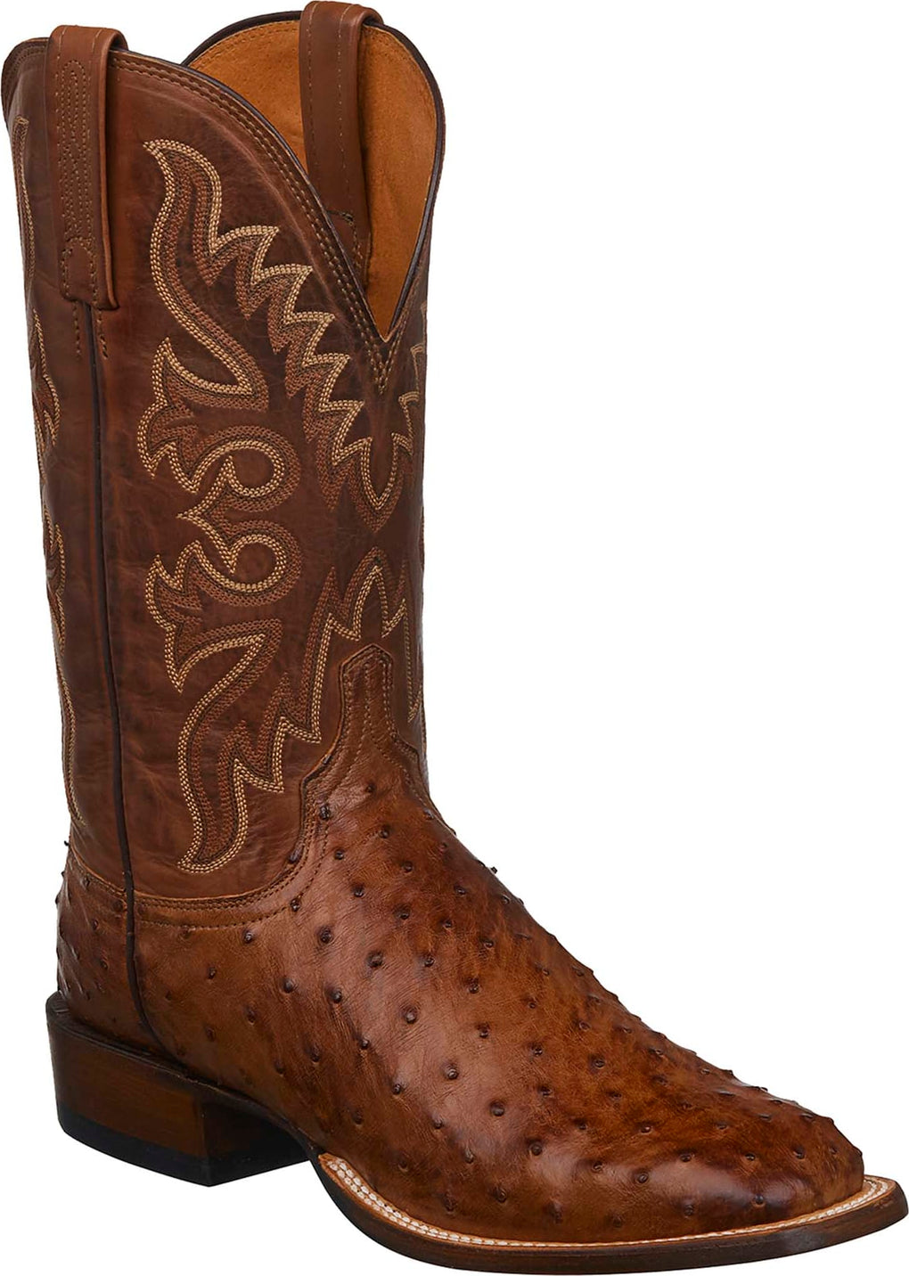MEN'S LUCCHESE HARMON - BARNWOOD BURNISHED FULL QUILL OSTRICH BOOTS - El Toro Boots