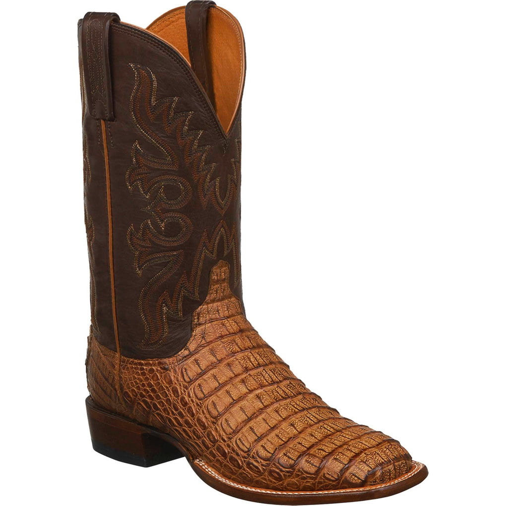 MEN'S LUCCHESE FISHER - TAN BURNISHED HORNBACK BOOTS - El Toro Boots