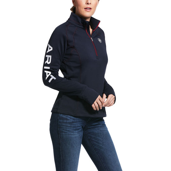 ARIAT WOMEN'S TEK TEAM 1/2 ZIP SWEATSHIRT - NAVY - El Toro Boots