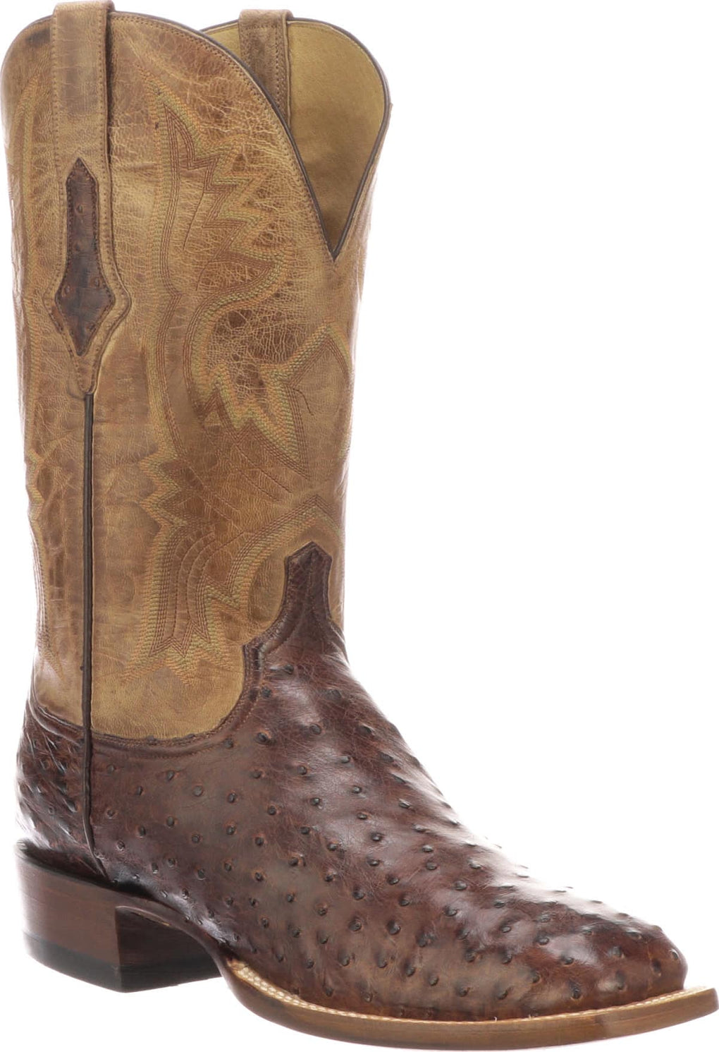 MEN'S LUCCHESE CLIFF - ANTIQUE DARK BROWN FULL QUILL OSTRICH BOOTS - El Toro Boots