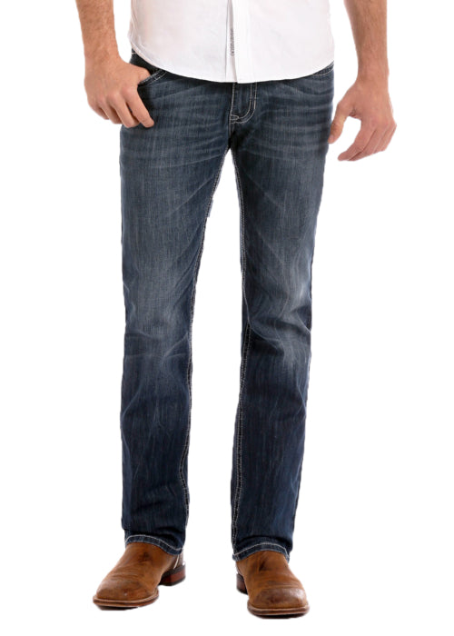ROCK & ROLL DENIM REVOLVER STRAIGHT LEG REFLEX JEANS - DARK VINTAGE WASH - El Toro Boots