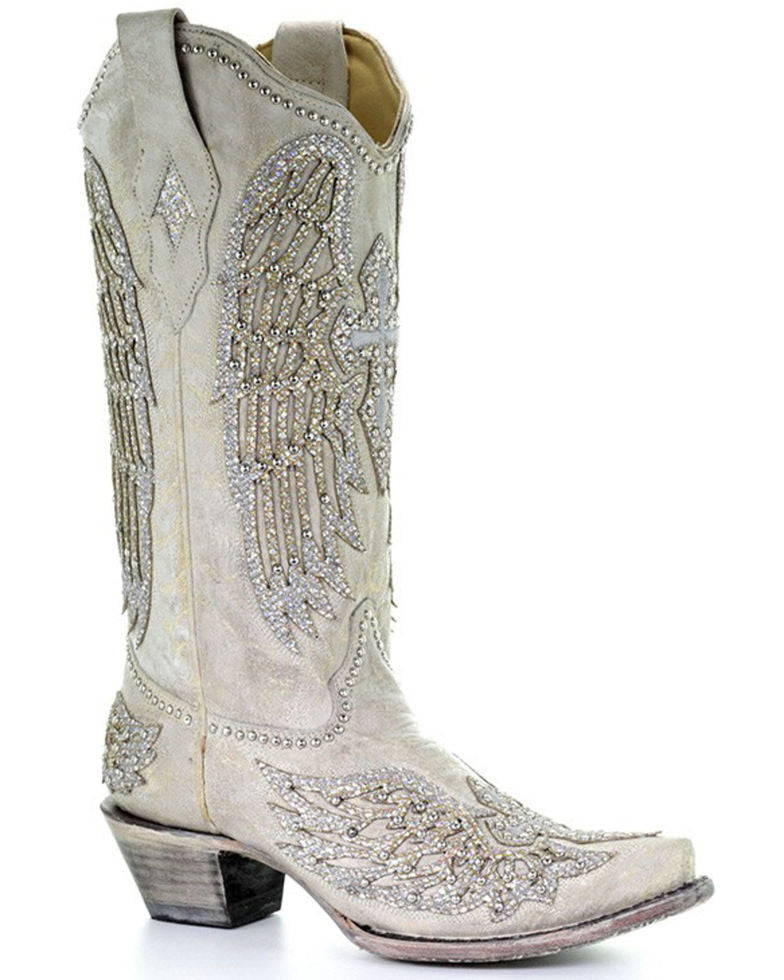 WOMEN'S CORRAL WHITE CRYSTAL CROSS AND WINGS SNIP-TOE BOOTS - El Toro Boots