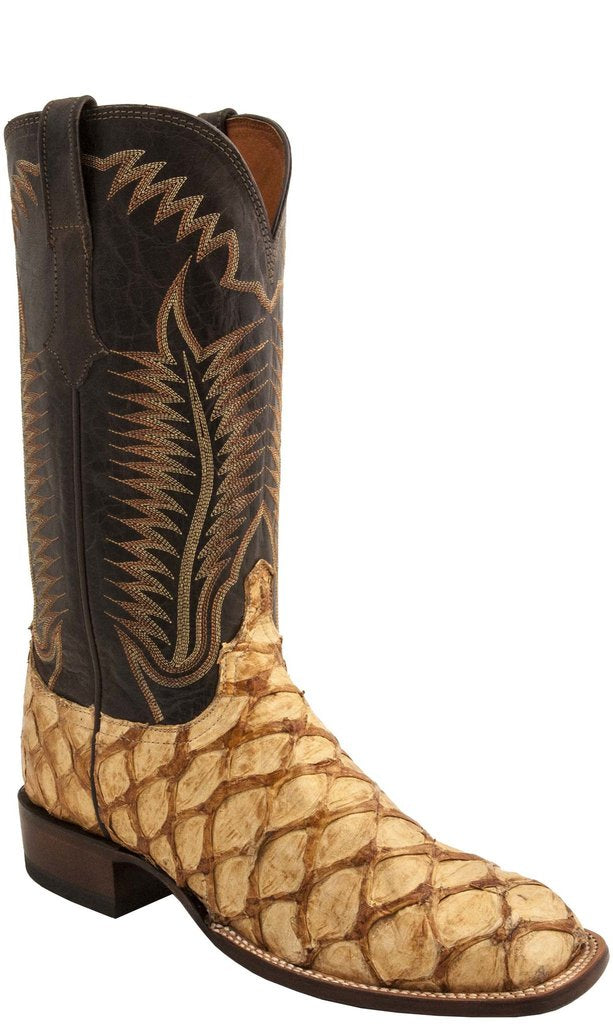 MEN'S LUCCHESE BROOKS - SAND PIRARUCU SQUARE TOE BOOTS - El Toro Boots