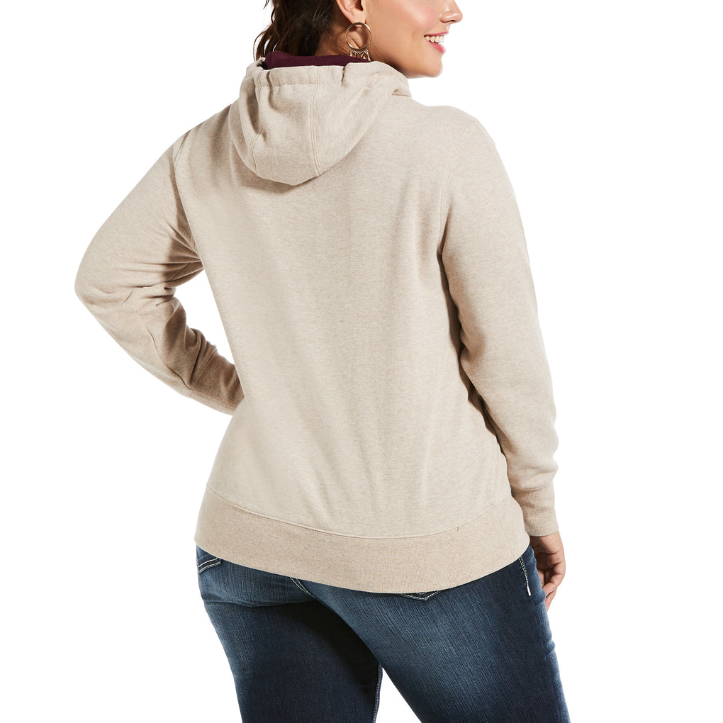 ARIAT WOMEN'S VARSITY LOGO HOODIE - OATMEAL HEATHER