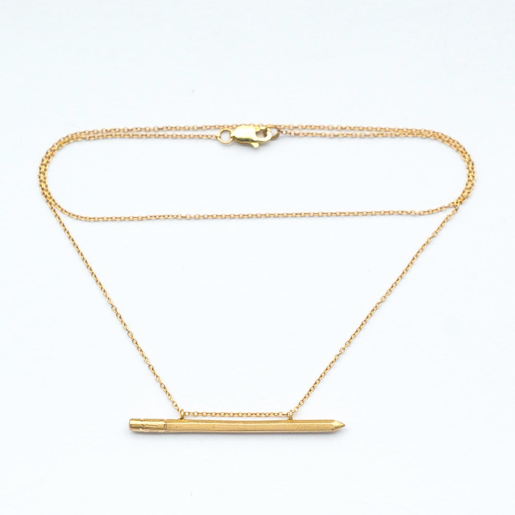Solid 14k Gold Pencil Necklace