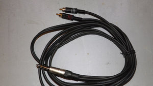 6.35mm stereo jack plug to 2x RCA Phono plugs 3m long