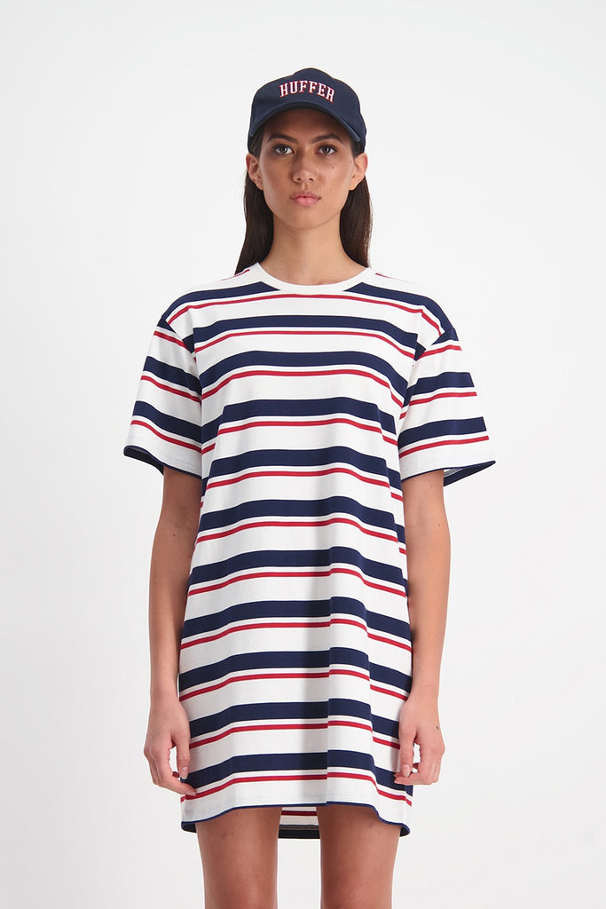 Huffer Fairfax Bella Dress - White/Navy