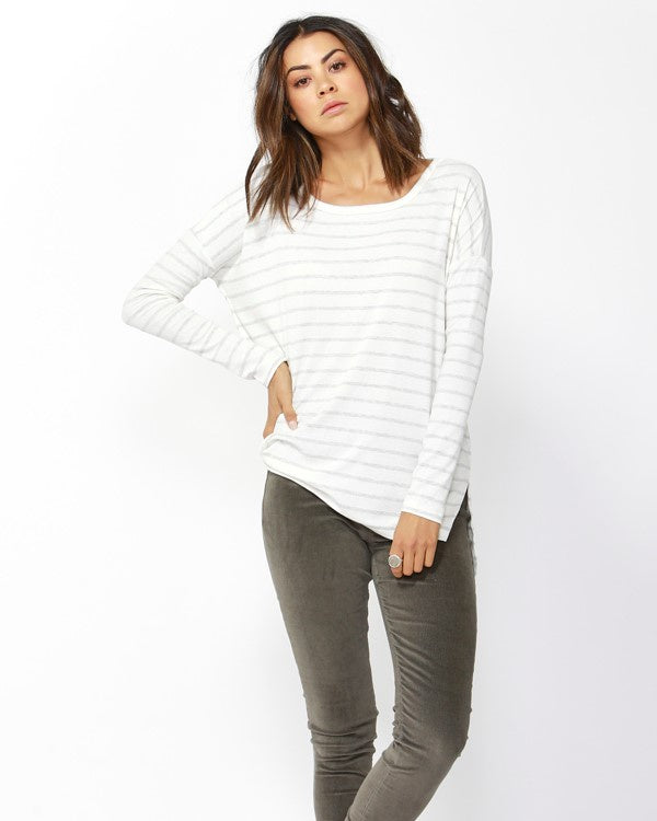 Betty Basic Lucy Rib Oversized Top - Off White/Grey Marle