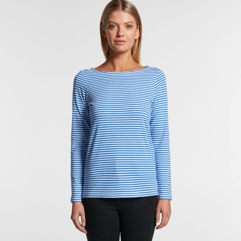 AS Colour Womens Bowery Stripe LS - Natural/Mid Blue