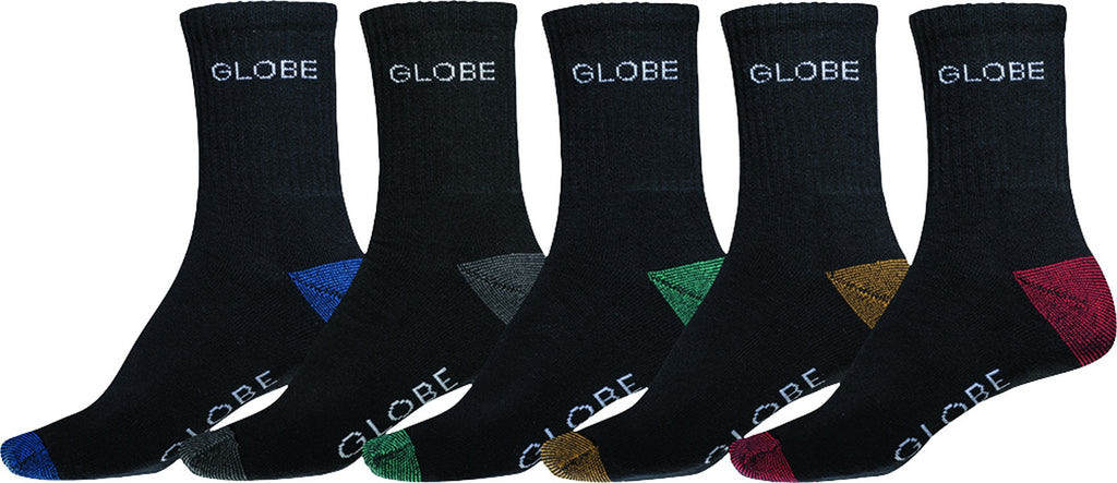 Globe Ingles Crew Sock 5 Pack Size 7-11 - Assorted