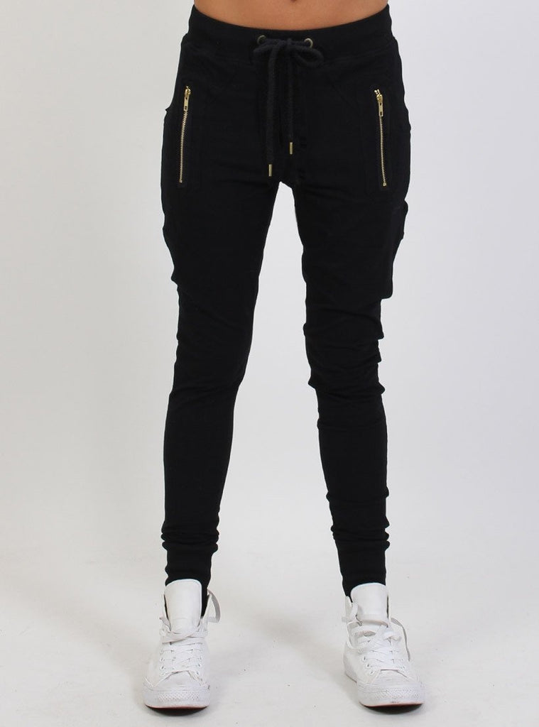 Federation Escape Trackies - Black with Gold Zip