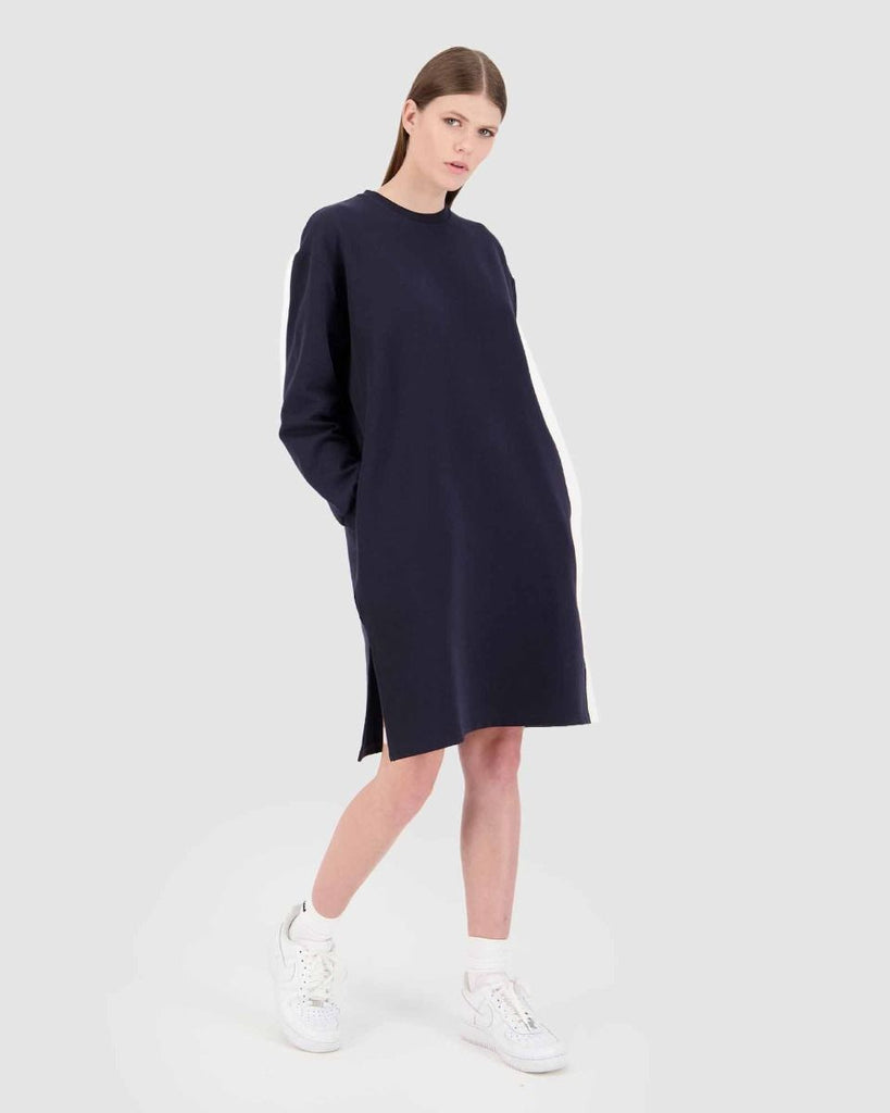 Huffer Dual LS Split Dress - Navy