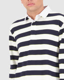 Huffer Clocked LS Rugby Polo - White/Navy