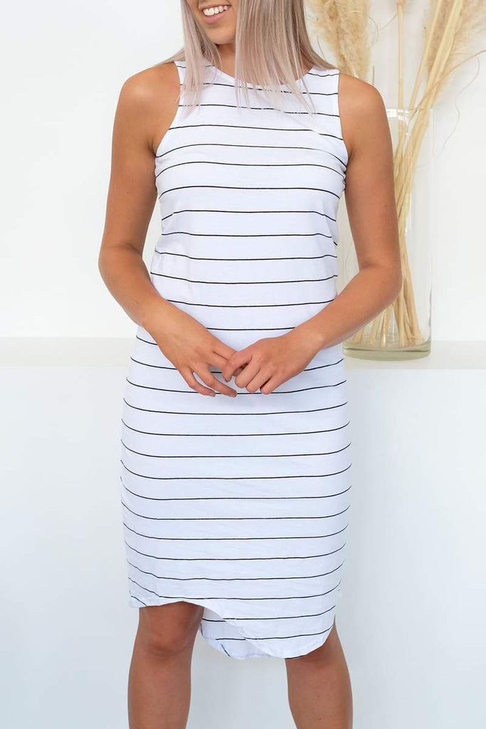 Silent Theory One In Eight Midi White Dress - White/Navy Stripe