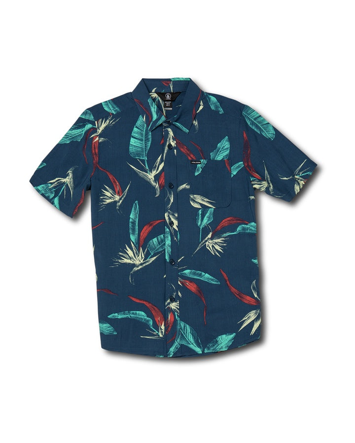 Volcom Youth Faxer Floral SS Shirt - Smokey Blue