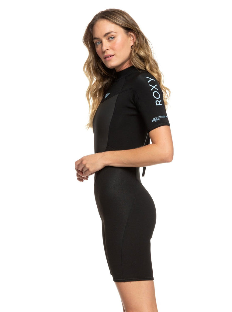 Roxy 2/2 Prologue Womens Back Zip Shorty Wetsuit - Black