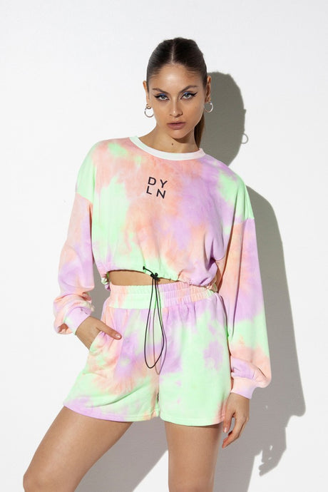 OLLIE CROPPED SWEATER - LILAC TIE DYE