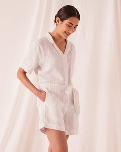 BLAIR LINEN PLAYSUIT - SILVER GREY