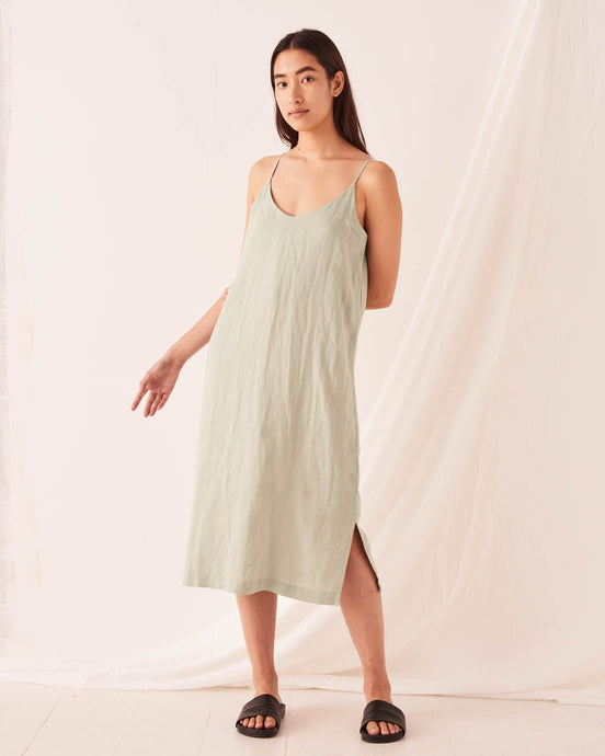 LINEN SLIP DRESS - SOFT GREEN
