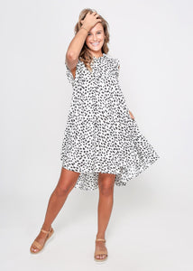 BIZZA DRESS - WHITE LEOPARD