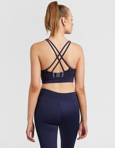 STRAPPY CROP BRA - NAVY