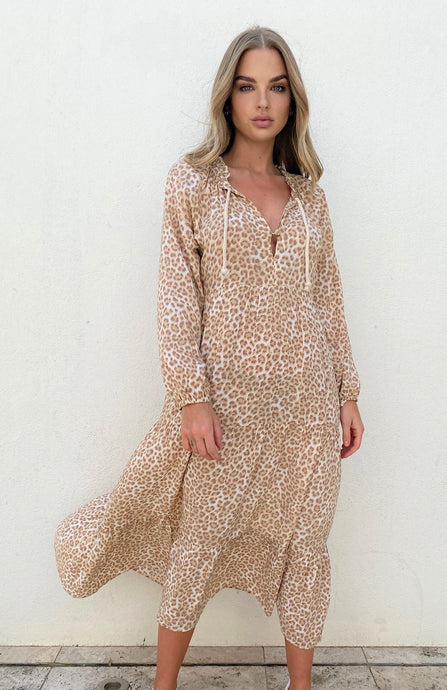 CALI ROPE MAXI DRESS - TAN LEOPARD