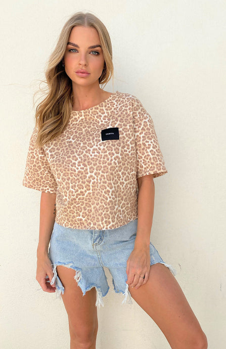 CARTEL BADGE LOGO TOP - TAN LEOPARD