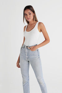 SCOOP NECK BODYSUIT - WHITE