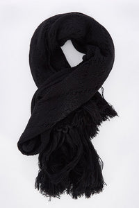 LUNAR CABLE KNIT SCARF - BLACK