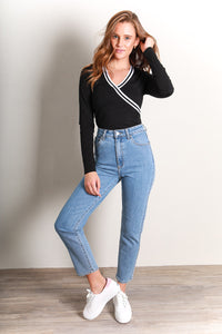 VISUAL LONG SLEEVE TOP - BLACK