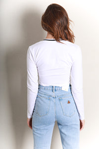 VISUAL LONG SLEEVE TOP - WHITE
