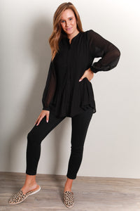 SERENITY PLEATED TOP - BLACK