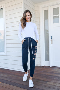 HUFF N PUFF TRACK PANTS - NAVY
