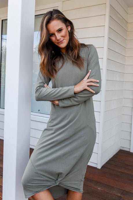 TWISTED MAXI DRESS LONGSLEEVE - MILITARY