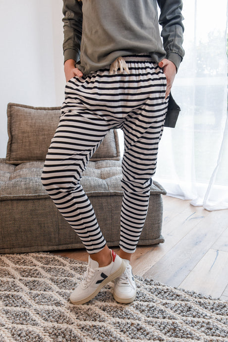 FLUID PANT - BLACK STRIPE
