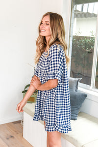 ELKY DRESS - NAVY GINGHAM