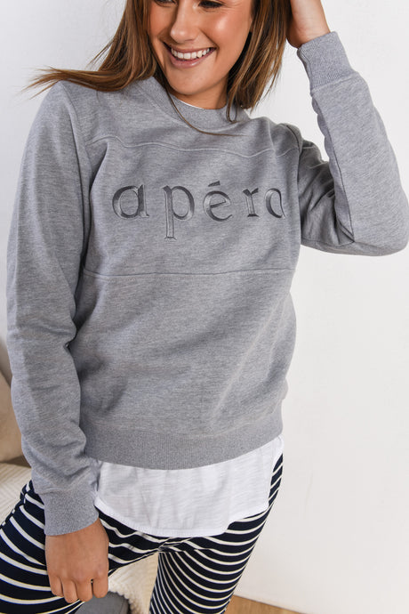APERO EMBROIDERED PANEL JUMPER - GREY MARLE