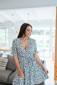 FRANNY DRESS - WHITE ANIMAL PRINT