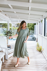 CROSS MAXI DRESS - KHAKI